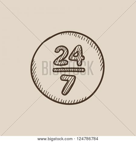 Open 24 hours and 7 days in wheek sign sketch icon.