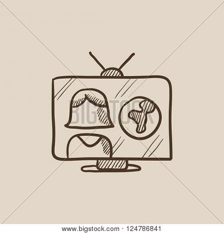 TV report sketch icon.
