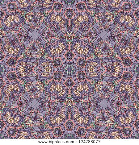 Bright psychedelic kaleidoscope mandala seamless pattern. Vector illustration