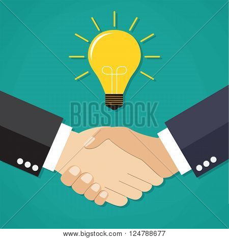 Two businessmen shake hands for a deal, light bulb. Business idea concept. vector illustration in flat design on green background