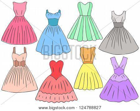 Doodle Dresses Set Retro Style Women Dresses Color