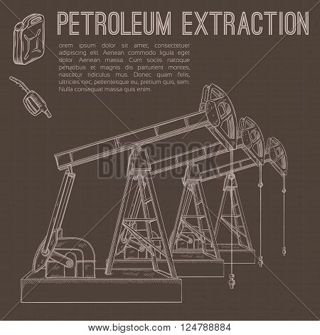 Petroleum extraction pump. Hand drawn vector illustration.