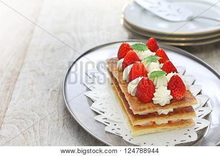 homemade strawberry millefeuille, Napoleon pie, french dessert