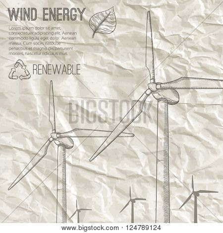 Wind power plant. Hand drawn vector illustration.