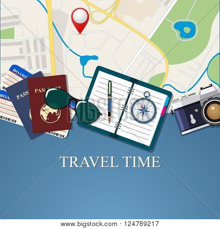 Travel and adventure template, travel time, banner for tourism website, vector illustration. travel and vacations concept. vector illustration in flat design