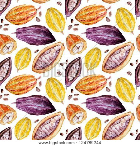 Beautiful pattern with nice hand drawn watercolor cocoa beans