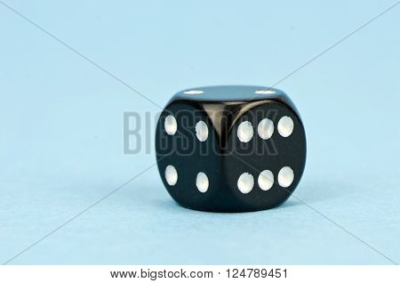 black dice with number six on blue background ** Note: Soft Focus at 100%, best at smaller sizes