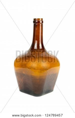 antique grunge brown wine glass bottle isolated on white background