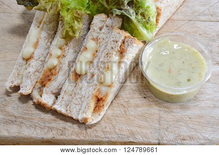 whole wheat bread filling tuna mayonnaise and vegetable with dipping sour sauce