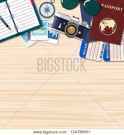 Travel and adventure template, travel time, Plan your travel, passport, compass, glasses on the wood background,  travel and vacations concept. vector illustration in flat design