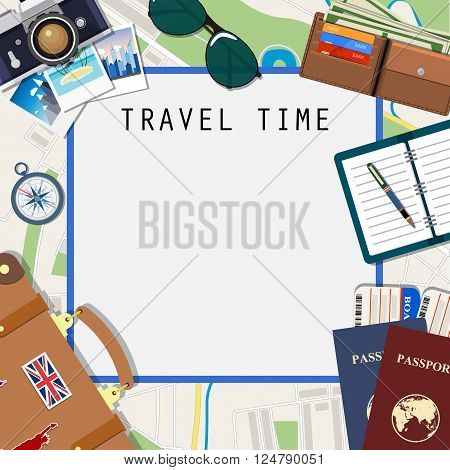 Travel and adventure template, travel time, Travel time template. International passport, boarding pass, tickets on the map background. vector illustration. travel and vacations concept  in flat design