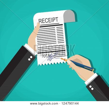 cartoon businessman hands with sign payment bill receipt, Vector illustration in flat design on green background
