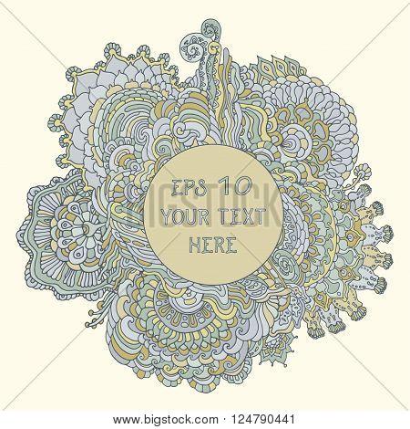 Vintage curvy floral psychedelic background. Vector illustration