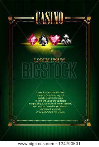 Casino Logo Poster Background or Flyer with Card Suits. Banner with Casino Logo Badges. Game Cards. Playing Casino Games. Casino Banner