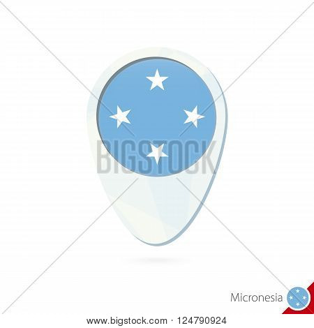 Micronesia Flag Location Map Pin Icon On White Background.