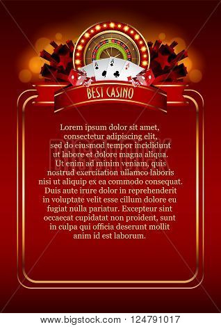 Casino Logo Poster Background or Flyer with Roulette Wheel. Banner with Casino Logo Badges. Game Cards. Playing Casino Games. Casino Banner