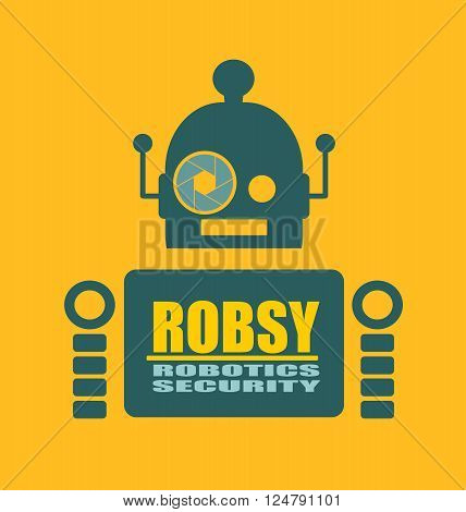 Funny security robot . ROBSY robotics security text. Robotics industry relative image. Aperture eye