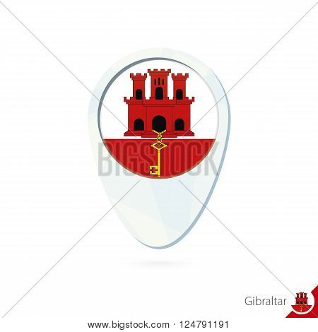 Gibraltar Flag Location Map Pin Icon On White Background.