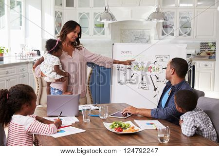 Mum presenting domestic meeting to her family in the kitchen