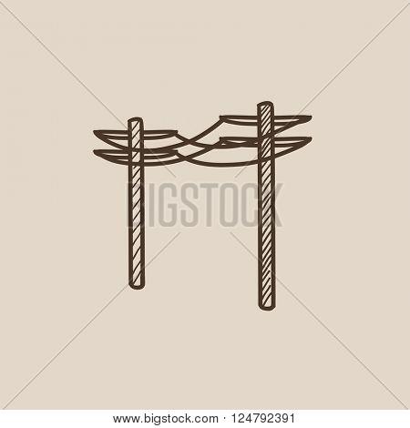 High voltage power lines sketch icon.