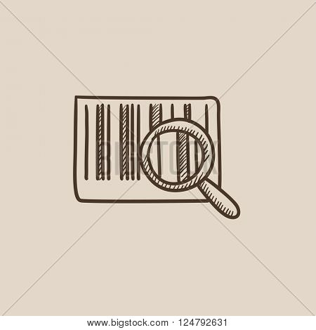 Magnifying glass and barcode sketch icon.