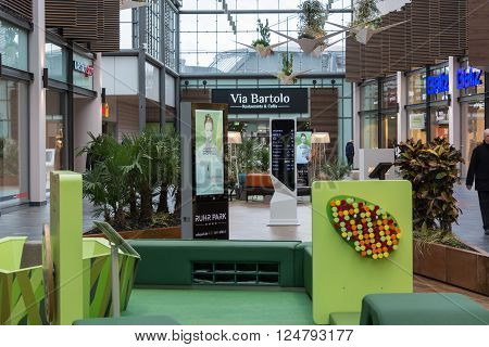BOCHUM NRW GERMANY - JANUARY 11 2016: Interior Shopping Mall of the Ruhr Park in Bochum. The shopping center Ruhr Park in Bochum is one of the largest in Germany.