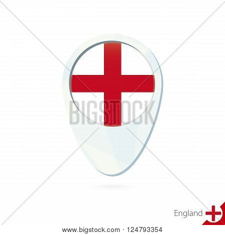 England Flag Location Map Pin Icon On White Background.