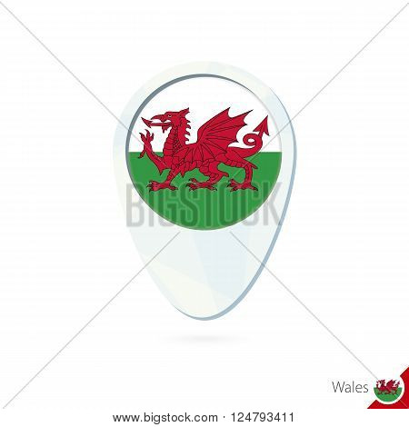 Wales Flag Location Map Pin Icon On White Background.