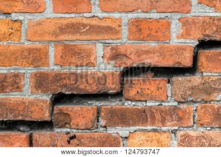 Old and damaged brick wall grunge background.