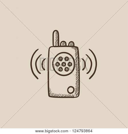 Radio set sketch icon.