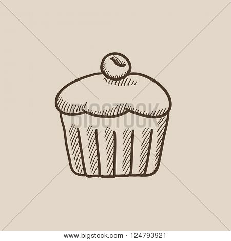 Cupcake with cherry sketch icon.