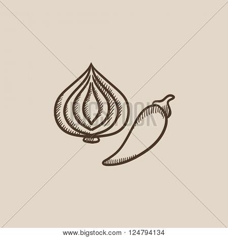 Garlic and chilli sketch icon.