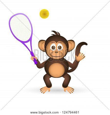 Cute Chimpanzee Playing Tennis Sport Little Monkey  Eps10