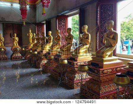 Songkla, Thailand - Oct 10, 2013 : Buddha statues of rams. Faith in Thailand