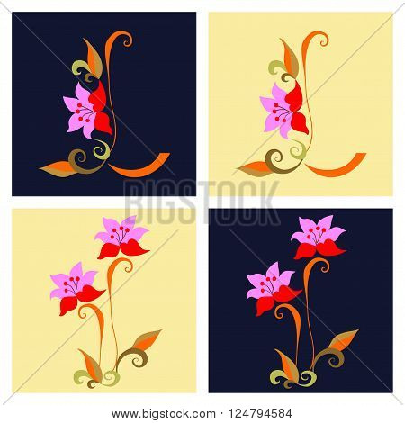 Letter L with flower in two versions and beautiful flowers in two versions. Vector alphabet.