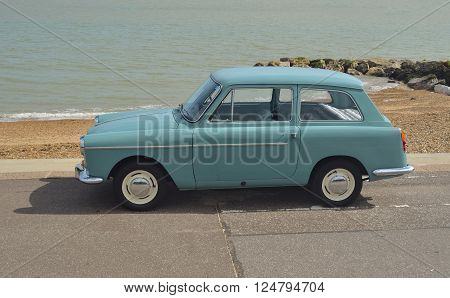 Felixstowe, Suffolk, England - August 29, 2015: Classic Light Blue Austin A40 on show at Felixstowe seafront.
