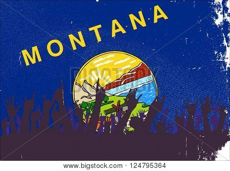 Audience happy reaction with Montana State flag background