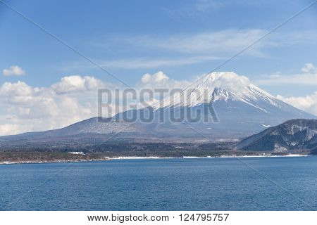 Lake motosu and mountain Fuji