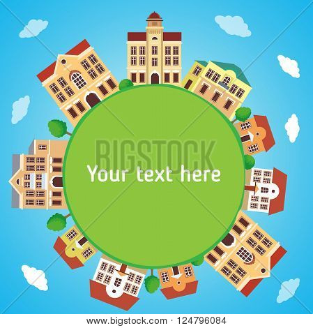 Round Panoramic Town In European Style With Frame Background. ?olorful Houses. Vector Cartoon Illustration. Panorama Townhouse. Panoramic View. Digital Town Hall. Old City Hall. Old Town Spring.