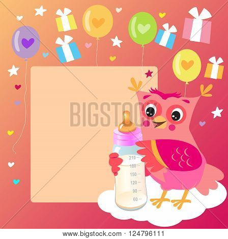 Cute Owlet With Milk Bottle. Welcome Baby Girl Card. Vector Illustration. Cute Owl Drawings. Cute Owl Cartoon.