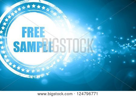 Glittering blue stamp: free sample sign with some soft smooth lines