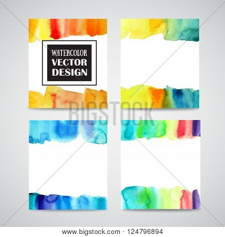 Set of watercolor backgrounds in paintbrush technic.
