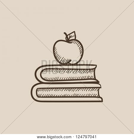 Books and apple on top sketch icon.