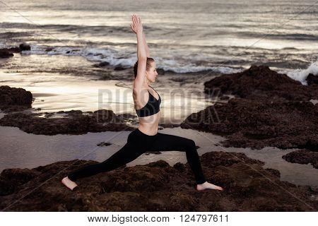 La Tejita, Punta Roja, sunrise, tenerife, canary, spain, yoga, young, zen-like, Warrior pose, Virabhadrasana, active, attractive,  caucasian, exercising, fit, health, leisure, practicing, relaxation,  slim, sport, stretching, wellness, woman, workout, atl