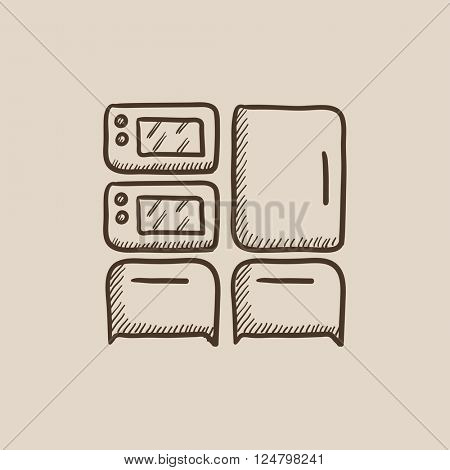Household appliances sketch icon.