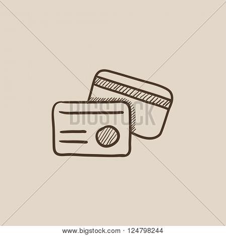 Identification card sketch icon.