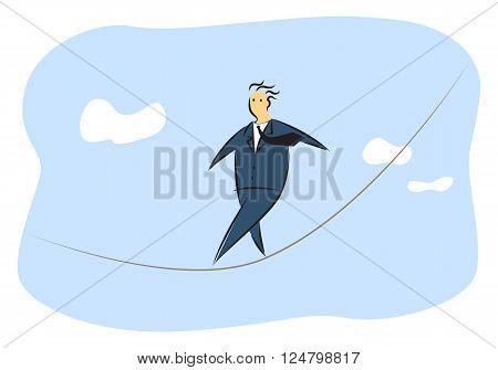 illustration man walking on rope, business concept