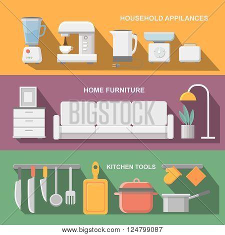 Concept of modern kitchen. Flat horizontal banners with kitchen utensils, electric  cooker, refrigerator, kitchen furniture, washing, interior.