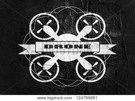 Drone quadrocopter icon. Flat symbol. Concrete textured. Drone text. Vintage elements. Monochrome image