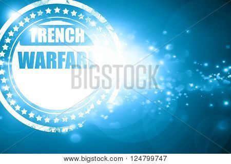 Glittering blue stamp: trench warfare sign with some soft lines